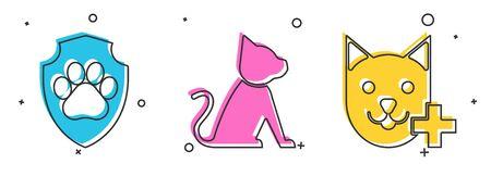 Set Animal health insurance, Cat and Veterinary clinic symbol icon. Vector Ilustração