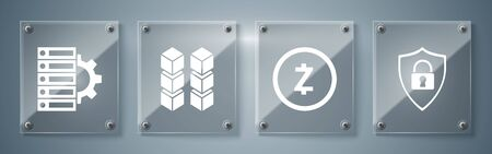 Set Shield security with lock, Cryptocurrency coin Zcash ZEC, Blockchain technology and Server and gear. Square glass panels. Vector