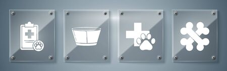 Set Crossed bones, Veterinary clinic symbol, Protective cone collar and Clipboard with medical clinical record pet. Square glass panels. Vector