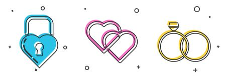 Set Castle in the shape of a heart, Two Linked Hearts and Wedding rings icon. Vector