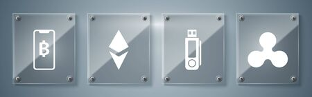 Set Cryptocurrency coin Ripple XRP, USB flash drive, Cryptocurrency coin Ethereum ETH and Phone mobile and cryptocurrency coin Bitcoin. Square glass panels. Vector