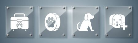 Set Veterinary clinic symbol, Dog, Paw print and Pet first aid kit. Square glass panels. Vector Illustration