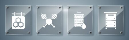 Set Hive for bees, Honeycomb, Honey dipper stick and Hanging sign with honeycomb. Square glass panels. Vector Ilustração