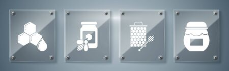 Set Jar of honey, Honeycomb with honey dipper stickicon, Jar of honey with bee and Honeycomb. Square glass panels. Vector