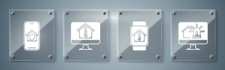 Set Computer monitor with smart house and alarm, Smart watch with house temperature, Computer monitor with house temperature and Mobile phone with house under protection. Square glass panels. Vector