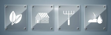 Set Watering sprout, Garden rake, Farm house and Leafs. Square glass panels. Vector