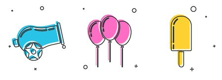 Set Cannon, Balloons with ribbon and Ice cream icon. Vector