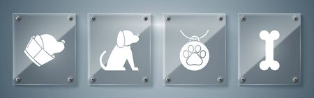 Set Dog bone, Collar with name tag, Dog and Veterinary clinic symbol. Square glass panels. Vector Иллюстрация