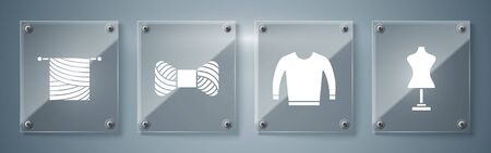Set Mannequin, Sweater, Sewing thread on spool and Knitting. Square glass panels. Vector Ilustração