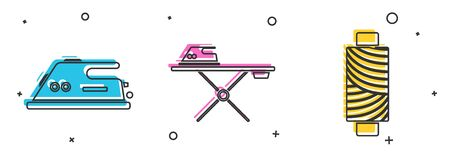 Set Electric iron, Electric iron and ironing board and Sewing thread on spool icon. Vector 일러스트