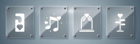 Set Signpost with heart, Wedding arch, Music note, tone with hearts and Please do not disturb with heart. Square glass panels. Vector