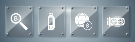 Set Mining farm, Globe and cryptocurrency coin Bitcoin, USB flash drive and Magnifying glass with Bitcoin. Square glass panels. Vector Illustration