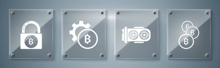 Set Cryptocurrency coin Bitcoin, Mining farm, Cryptocurrency coin Bitcoin and Lock with bitcoin. Square glass panels. Vector