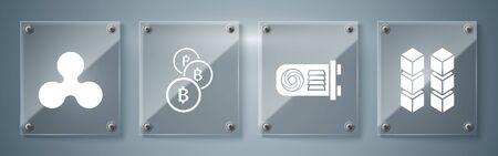 Set Blockchain technology, Mining farm, Cryptocurrency coin Bitcoin and Cryptocurrency coin Ripple XRP. Square glass panels. Vector