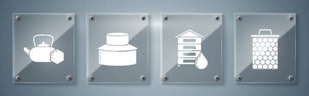 Set Honeycomb, Hive for bees, Beekeeper with protect hat and Tea kettle with honey. Square glass panels. Vector Ilustracja