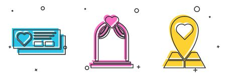 Set Ticket with heart, Wedding arch and Map pointer with heart icon. Vector