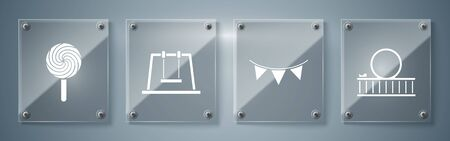 Set Roller coaster, Carnival garland with flags, Swing and Lollipop. Square glass panels. Vector