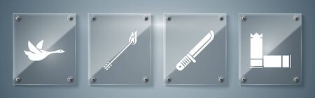 Set Cartridges, Hunter knife, Flame arrow and Flying duck. Square glass panels. Vector