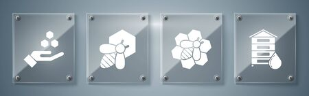 Set Hive for bees, Bee and honeycomb, Bee and honeycomb and Honeycomb and hand. Square glass panels. Vector Ilustração