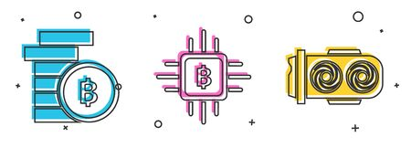 Set Cryptocurrency coin Bitcoin, CPU mining farm and Mining farm icon. Vector Illustration