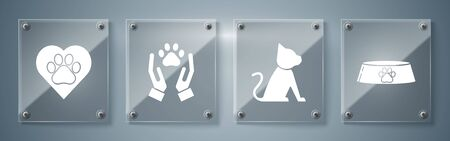 Set Pet food bowl for cat or dog, Cat, Hands with animals footprint and Heart with animals footprint. Square glass panels. Vector