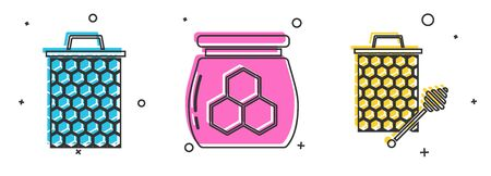 Set Honeycomb, Jar of honey and Honeycomb with honey dipper stickicon icon. Vector