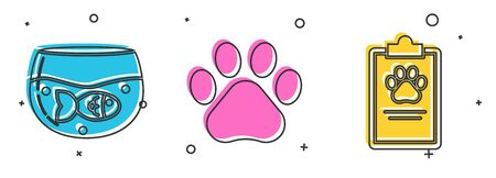 Set Aquarium with fish, Paw print and Clipboard with medical clinical record pet icon. Vector