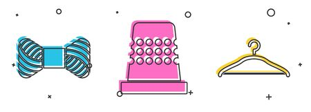 Set Sewing thread on spool, Thimble for sewing and Hanger wardrobe icon. Vector