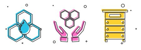Set Honeycomb, Honeycomb and hands and Hive for bees icon. Vector