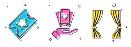 Set Ticket, Hand holding playing cards and Curtain icon. Vector