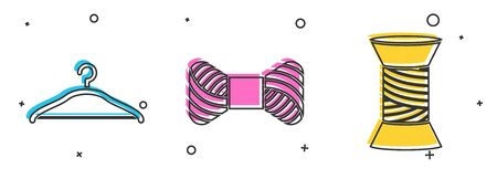 Set Hanger wardrobe, Sewing thread on spool and Sewing thread on spool icon. Vector 일러스트