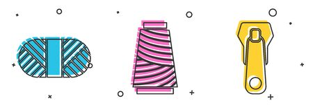 Set Sewing thread on spool, Sewing thread on spool and Zipper icon. Vector 일러스트