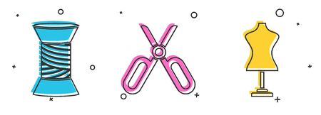 Set Sewing thread on spool, Scissors and Mannequin icon. Vector