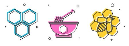 Set Honeycomb, Honey dipper stick and bowl and Bee and honeycomb icon. Vector Ilustração