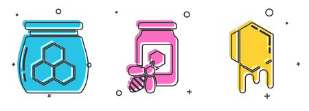 Set Jar of honey, Jar of honey with bee and Honeycomb icon. Vector