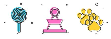 Set Lollipop, Attraction carousel and Paw print icon. Vector