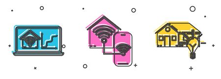 Set Laptop with smart home with wi-fi, Smart home with wi-fi and Smart house and light bulb icon. Vector