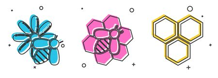 Set Bee and flower, Bee and honeycomb and Honeycomb icon. Vector