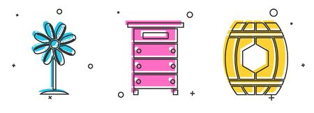 Set Flower, Hive for bees and Wooden barrel with honey icon. Vector