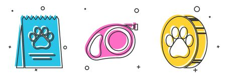 Set Bag of food for dog, Retractable cord leash with carabiner and Paw print icon. Vector