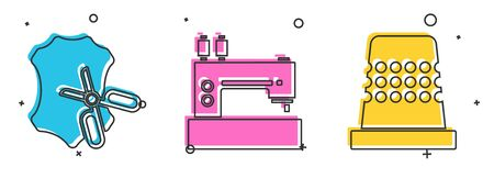 Set Scissors and leather, Sewing machine and Thimble for sewing icon. Vector