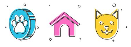 Set Paw print, Dog house and Cat icon. Vector Illustration