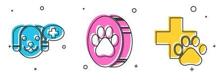 Set Veterinary clinic symbol, Paw print and Veterinary clinic symbol icon. Vector