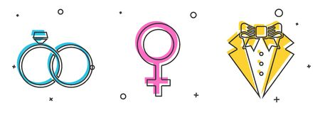 Set Wedding rings, Female gender symbol and Suit icon. Vector