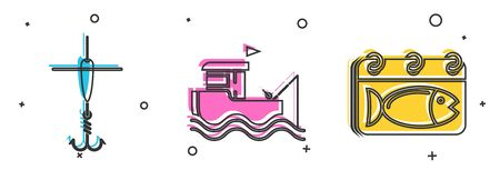 Set Fishing hook and float, Fishing boat with fishing rod on water and Calendar with a fish icon. Vector