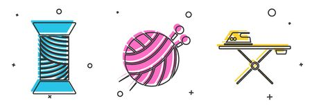 Set Sewing thread on spool, Yarn ball with knitting needles and Electric iron and ironing board icon. Vector 일러스트
