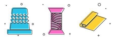 Set Thimble for sewing, Sewing thread on spool and Textile fabric roll icon. Vector