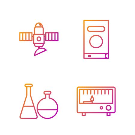 Set line Electrical measuring instruments, Test tube and flask chemical laboratory, Satellite and Book. Gradient color icons. Vector