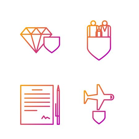 Set line Plane with shield, Contract with pen, Diamond with shield and Family insurance with shield. Gradient color icons. Vector 向量圖像