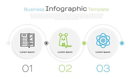 Set line Notebook, Rat and Atom. Business infographic template. Vector